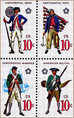The Military Services Bicentennial Stamps Art Print by Lanjee Chee