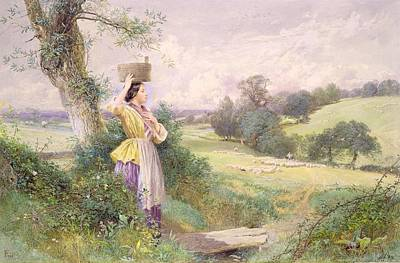 Shepherdess Painting - The Milkmaid by Myles Birket Foster