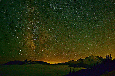 Photograph - The Milky Way And Mt. Rainier by Don Mercer
