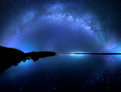 Photograph - The Milky Way Lake by Mark Andrew Thomas