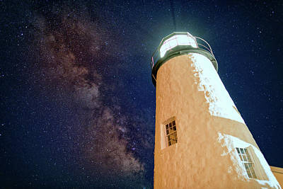 Meteor Photograph - The Milky Way Over Pemaquid Point by Rick Berk