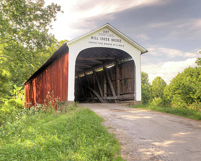 Photograph - The Mill Creek Covered Bridge by Harold Rau
