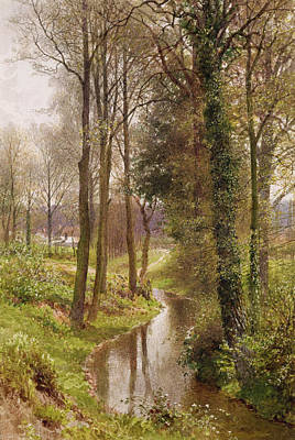 English Gouache Painting - The Mill Stream by Henry Sutton Palmer