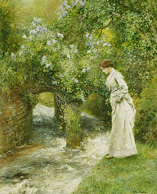 Signed . Nature Painting - The Mill Stream In Spring by Arthur Hopkins