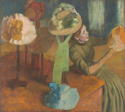 The Millinery Shop Painting - The Millinery Shop 1879-86 by Edgar Degas