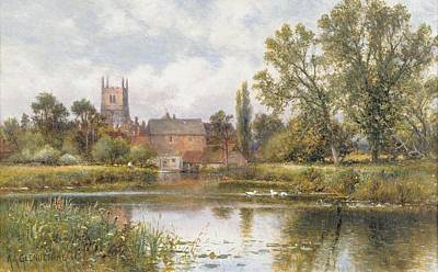 Tranquil Painting - The Millpond by Alfred Glendening
