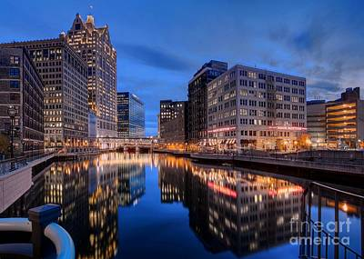 Photograph - The Milwaukee River At Twilight Near The Wells Street Bridge by John December