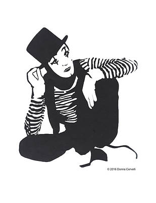 Drawing - The Mime by Donna Cervelli
