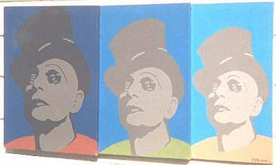 Tripple Painting - The Mime On Tripple Canvas by Peter Shulman