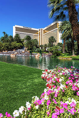 Sunset Photograph - The Mirage Casino Lagoon And Flower Bed by Aloha Art