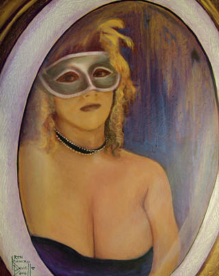 Painting - The Mirror And The Mask Portrait Of Kelly Phebus by Ron Richard Baviello