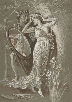 Drawing - The Mirror Of Venus by Walter Crane