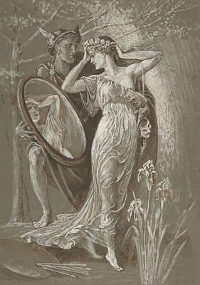 Crane Drawing - The Mirror Of Venus by Walter Crane