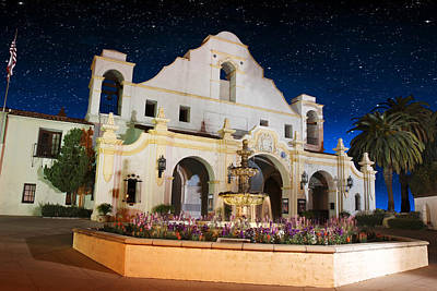 Photograph - The Mission At Night by Robert Hebert