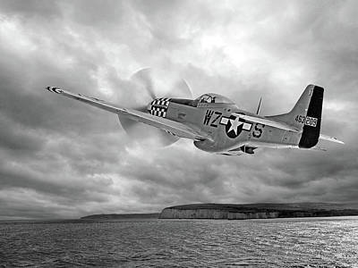 North American P51 Mustang Photograph - The Mission - P51 Over Dover In Black And White by Gill Billington