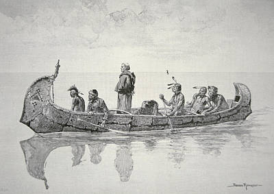 Canada Drawing - The Missionary by Frederic Remington