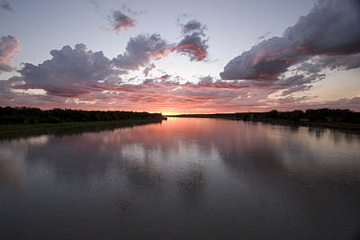 Photograph - The Missouri River At Sunset Reflects by Phil Schermeister