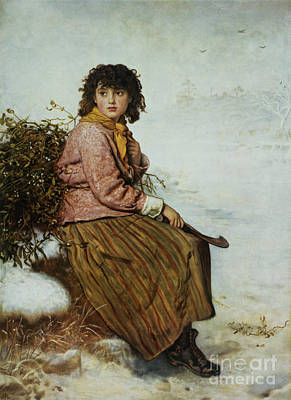 Snow Scene Painting - The Mistletoe Gatherer by Sir John Everett Millais