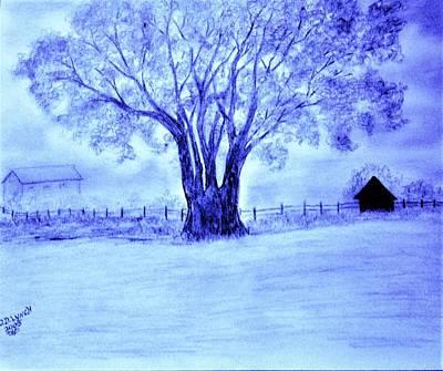 Lavender Drawing - The Misty Farm by Debra Lynch