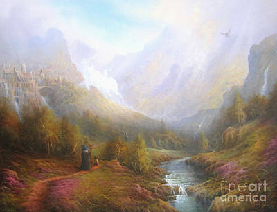 Elf Painting - The Misty Mountains by Joe  Gilronan