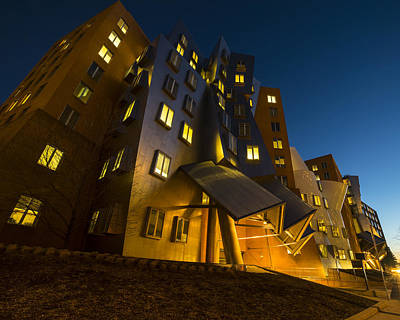Photograph - The Mit Stata Center At Night Kendall Square Cambirdge Ma Moon by Toby McGuire
