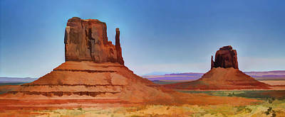 Photograph - The Mittens At Monument Valley Navaho Tribal Park Digital Painting by Roger Passman