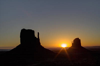 Photograph - The Mittens At Sunrise Monument Valley Navaho Tribal Park by Roger Passman