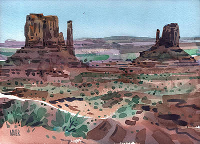 Navajo Painting - The Mittens by Donald Maier