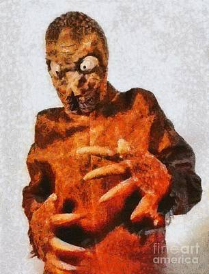 Mummies Painting - The Mole People, Vintage Sci-fi by Mary Bassett