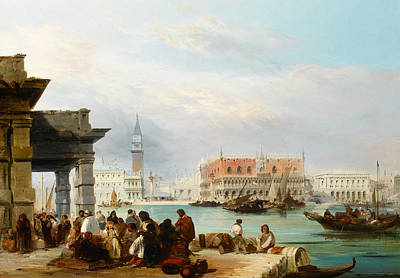 The Mollo From The Dogana, Venice Art Print by Edward Pritchett
