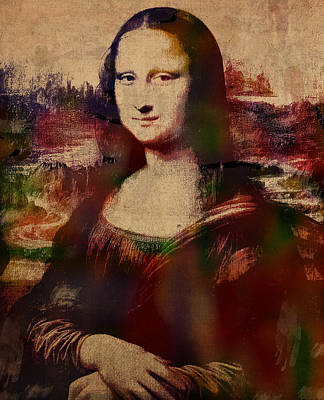 Da Vinci Mixed Media - The Mona Lisa Colorful Watercolor Portrait On Worn Canvas by Design Turnpike