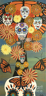 The Monarch's Tree Of Life And The Dead - Day Of The Dead Art Print