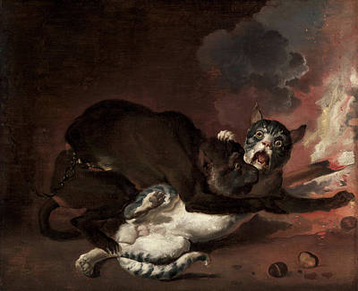 Glen Painting - The Monkey And The Cat by Abraham Hondius
