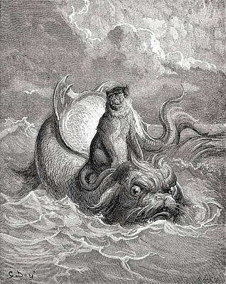 The Monkey And The Dolphin After A Work Art Print by Vintage Design Pics
