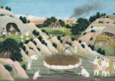 Painting - The Monkey King Vali's Funeral Pyre by Himachal Pradesh