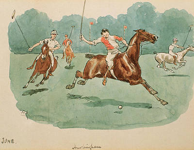 Action Drawing - The Month Of June  Polo by George Derville Rowlandson