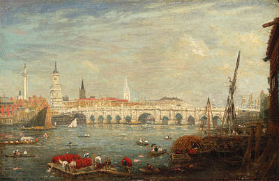 Frederick Nash Painting - The Monument And London Bridge by Frederick Nash