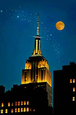 Photograph - The Moon And New York City by Diana Angstadt