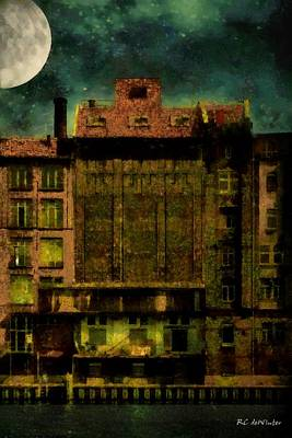 Berlin Night Painting - The Moon And The River by RC deWinter