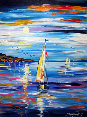 Painting - The Moon And The Sails by Roberto Gagliardi