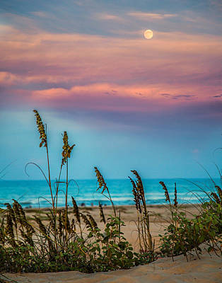The Moon And The Sunset At South Padre Island 11 By 14 Crop Art Print by Micah Goff