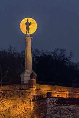 Photograph - The Moon And The Victor In Belgrade by Dejan Kostic