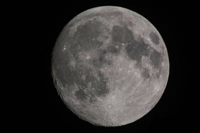 Photograph - the moon at 97.3 percent  Waxing Gibbous by Kenneth Cole