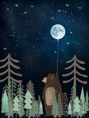Painting - The Moon Balloon by Bri B