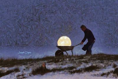Olive Green Digital Art - The Moon Keeper - 1 Of 7 - Da by Leonardo Digenio