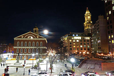 Photograph - The Moon Over Faneuil Hall On A Snowy Night Custom House by Toby McGuire