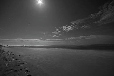 Photograph - The Moon Over Fort Myers Beach Fort Myers Florida Waves Black And White by Toby McGuire
