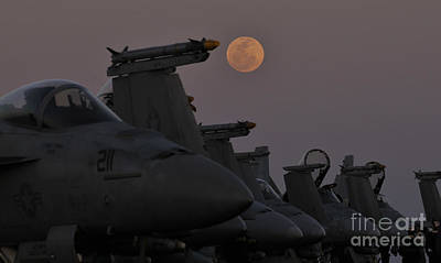 Moon Rise Painting - The Moon Rises Over Aircraft On The Flight Deck Of Uss Carl Vinson. by Celestial Images