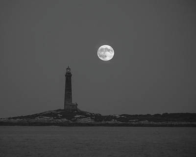Photograph - The Moon Rises Over Thacher Island Lighthouse Rockport Ma Black And White by Toby McGuire