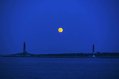Photograph - The Moon Rises Over Thacher Island Lighthouse Rockport Ma Two Lighthouses by Toby McGuire